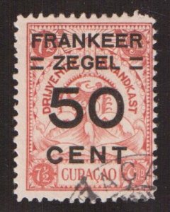 Netherlands Antilles  Curacao  #93  used  1927  marine insurance surcharge 50c