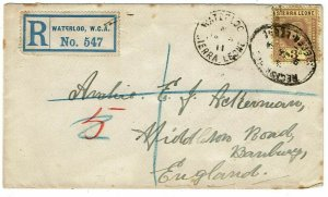 Sierra Leone 1911 Waterloo cancel on registered cover to England
