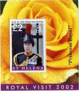 ST HELENA 877 MNH S/S SCV $9.00 BIN $5.25 ROYAL VISIT