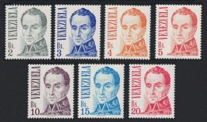 Venezuela 'Bolivar' by J M Espinosa Definitives 7v High Values SG#2323=2329