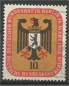 BERLIN, 1956, used 10pf Arms of Berlin Scott 9N118
