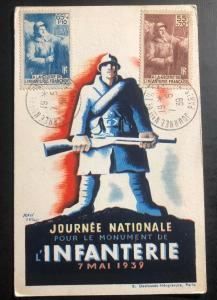 1939 Paris France Picture Postcard First Day Cover FDC Army National Day