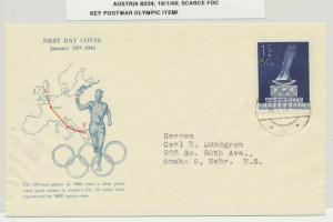 AUSTRIA 1948 OLYMPIC 1s+50g ON FIRST DAY COVER Sc#B224 KEY ITEM (SEE BELOW)