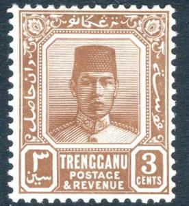 MALAYA (TRENGGANU)-1938 3c Reddish-Brown Sg 29 MOUNTED MINT V18307