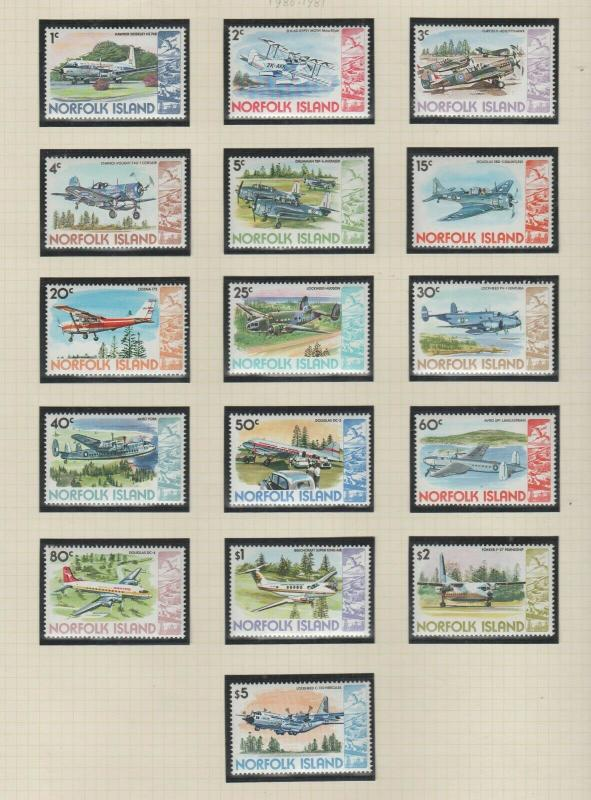 NORFOLK ISLAND  1980  PLANE SET