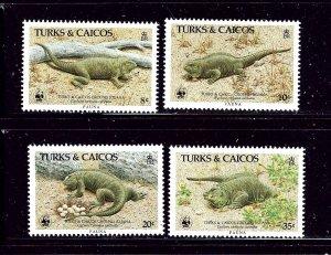 Turks and Caicos 710-13 MNH 1986 Iguanas