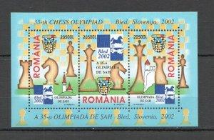 RM102 2002 Rumanía Deporte Ajedrez Olimpiada Eslovenia BL324 Michel 6 Euro MNH