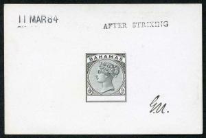 Bahamas 1884 Master Die Proof in black on glazed card 11 MAR 84 AFTER STRIKING