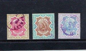 British India Queen Victoria full set 1895 Sc50-52 Used XF