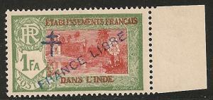 French India #165 VF NH 1942 1fa Kali Temple Overprinted