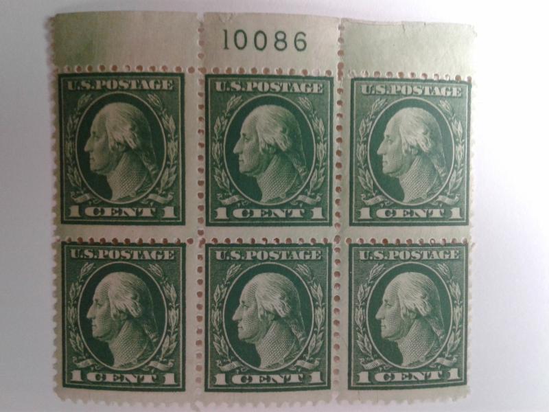 SCOTT # 498 PLATE BLOCK OF 6 #10086 INCREDIBLE MINT NEVER HINGED GEM !!  1917 !!