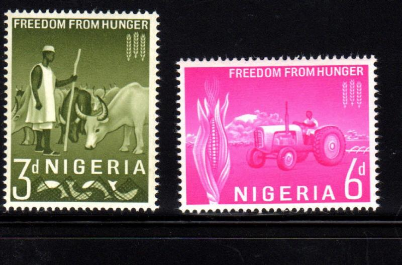 NIGERIA #141-142  1963  FREEDOM FROM HUNGER  MINT VF NH  O.G