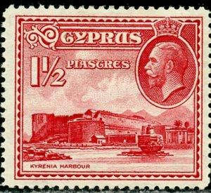 CYPRUS Sc#129 1934 1½pi KGV Kyrenia Castle OG Mint Hinged