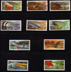 CANADA SET OF FISHING FLIES  (10) USED STAMPS  LOT#53