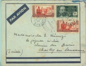 88889 - GABON  Afrique équatoriale - POSTAL HISTORY - COVER to SWITZERLAND  1940