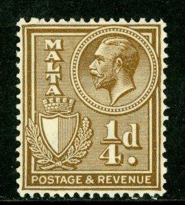 Malta 1930 KGV 1/4p Brown Scott 167 Mint A127 ⭐⭐⭐