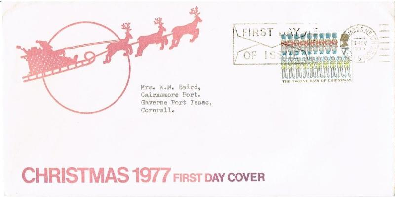 GREAT BRITAIN 1997 - FDC - CHRISTMAS 1977, HAYWARDS HEATH SUSSEX CANCEL