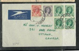 RHODESIA & NYASALAND COVER (P0506B) QEII 3D+9D+4 1/2D BL  4 A/M COVER TO CANADA