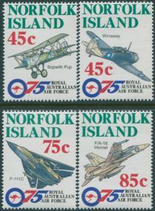 Norfolk Island 1996 SG615-618 RAAF Aircraft set MNH