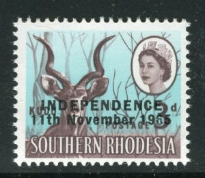 RHODESIA; 1965 Independence Optd. QEII Pictorial issue MINT MNH 3d. value