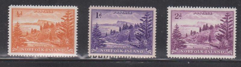 NORFOLK ISLAND Scott # 1, 2,4 MNH - Scene With Norfolk Pine Trees