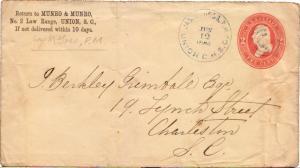 United States South Carolina Union Jas. H. Goss P.M. 1884 target  Postal Stat...