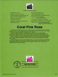 US SP1191a Coral Pink Rose Souvenir Page FDC