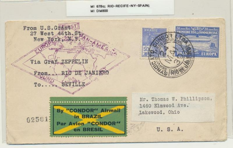 BRAZIL TO SPAIN 1939 ZEPPELIN COVER, RIO-RECIFE-NY-SEVILLE, Mi#678c SCARCE ITEM