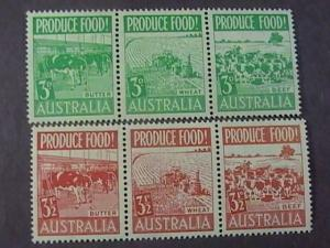 AUSTRALIA # 252a-255a-(250-255)-MINT/HINGED---COMPLETE SET IN STRIPS OF 3---1953