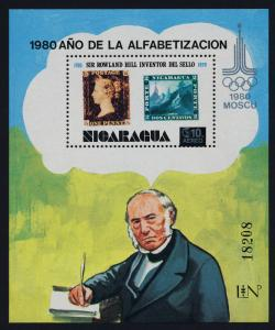 Nicaragua C974F MNH Rowland Hill, Stamp on Stamp, Moscow Olympics