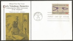 US FDC.1976 TELEPHONE CENTENNIAL 13C STAMP. I HEARD EVERY WORD-DISTINCTLY.BOSTON