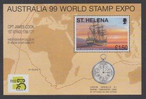 St Helena 732 Sailing Ship Map Souvenir Sheet MNH VF