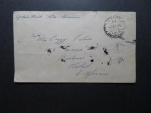 Egypt WWII MEF Stampless Cover to South Africa / Light Creasing - Z11615
