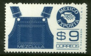 MEXICO Exporta 1124, $9P Overalls Fluor Paper 7 MINT, NH. VF.