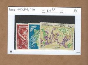 Laos 207-208, C76  MNH