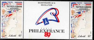 New Caledonia (NCE) Scott 613 MNH** French Revolution Bicentennial gutter pair