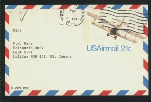 USA Airmail postcard 21 cent 1980  PD