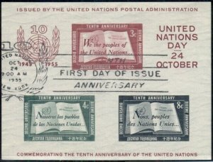 UNITED NATIONS 38 SOUVENIR SHEET USED WITH FDC CANCEL, VF