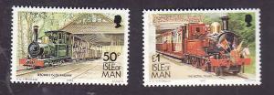 Isle of Man-Sc#358Ca,358Da-unused NH inscribed 1992-Trains-Locomotives-Railway