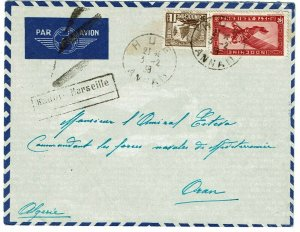 Indochina 1938 Hua cancel on airmail cover to ALGERIA