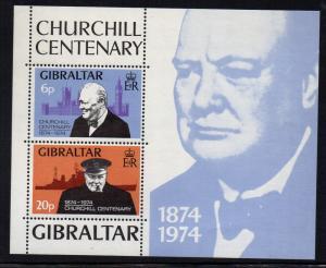 Gibraltar Sc 317a 1974 Churchill stamp sheet mint NH