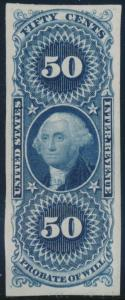 #R62P3 50¢ PROBATE OF WILL, BLUE PLATE ON INDIA PAPER BR5858
