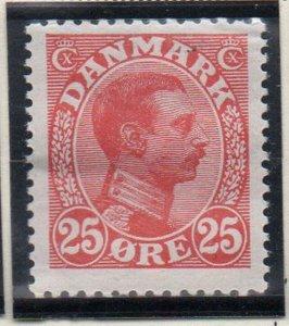 Denmark Sc 108 1922 25 ore red Christian X  stamp mint