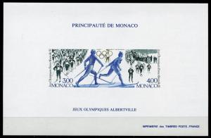 MONACO CALGARY ALBERTVILLE  OLYM GAMES IMPERFORATE  S/SHEET SCOTT#1620 MINT NH