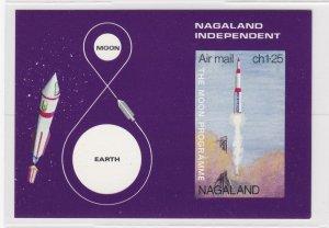Nagaland - Moon Program Rocket Souvenir Sheet, NH
