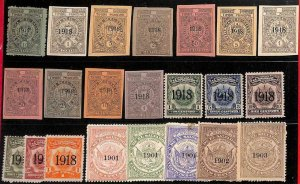 94979  - EL SALVADOR  -  STAMPS - Lot of 22  REVENUE stamps - MINT  1901-1918