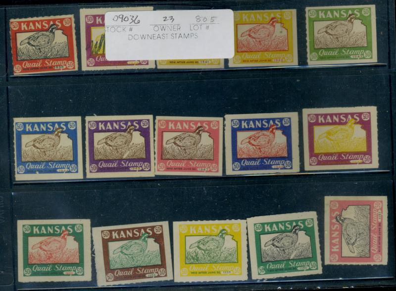 US Kansas-Quail Stamps 15 Different 1935/1957 MOstly F-VF No Gum Cpl Tiny Def...