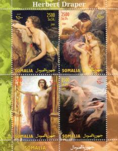 Somalia 2004  Herbert Draper (1864-1920) Nudes Ptgs.Shlt (4) Perforated MNH VF