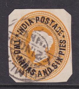 India 2annas and 6 pies overprint Victoria Postal Stationary Cutout VGC