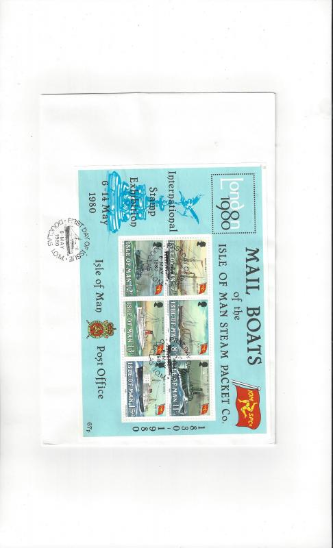 Isle of Man Mail Boats London 1980 #173A  FDC